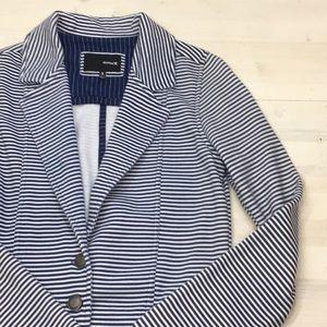 Hurley blue and white striped knit blazer sz S